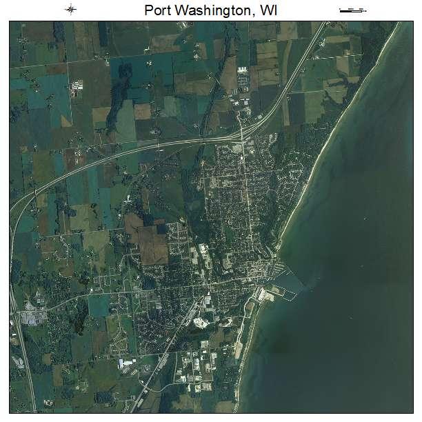 Aerial photography map of port washington wi wisconsin for Port washington wi