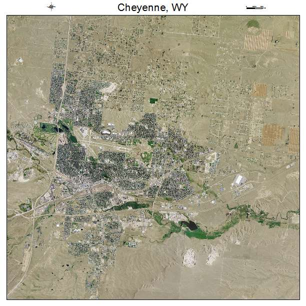 Aerial Photography Map Of Cheyenne WY Wyoming