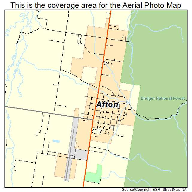Aerial Photography Map Of Afton Wy Wyoming