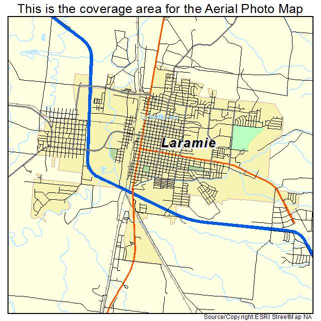 Aerial Photography Map of Laramie WY Wyoming